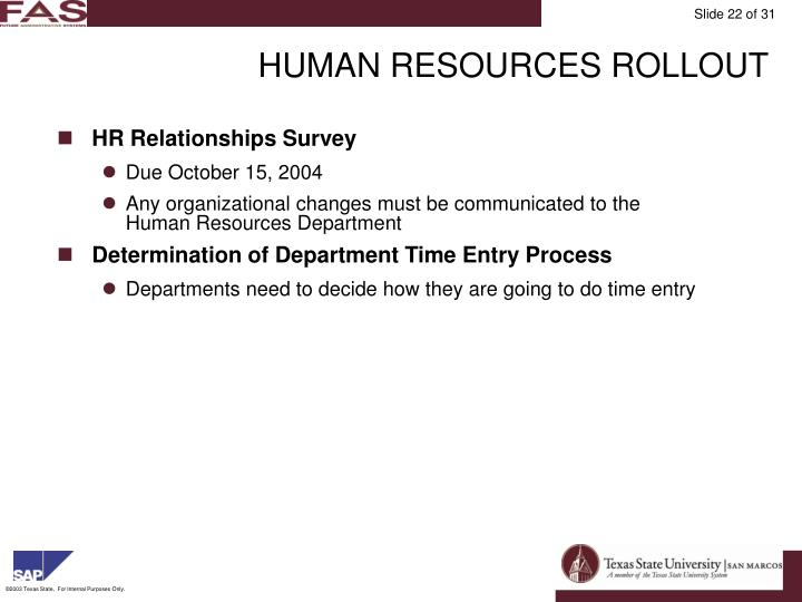 HUMAN RESOURCES ROLLOUT