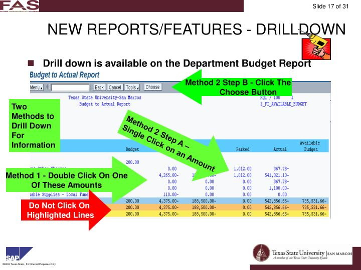 NEW REPORTS/FEATURES - DRILLDOWN