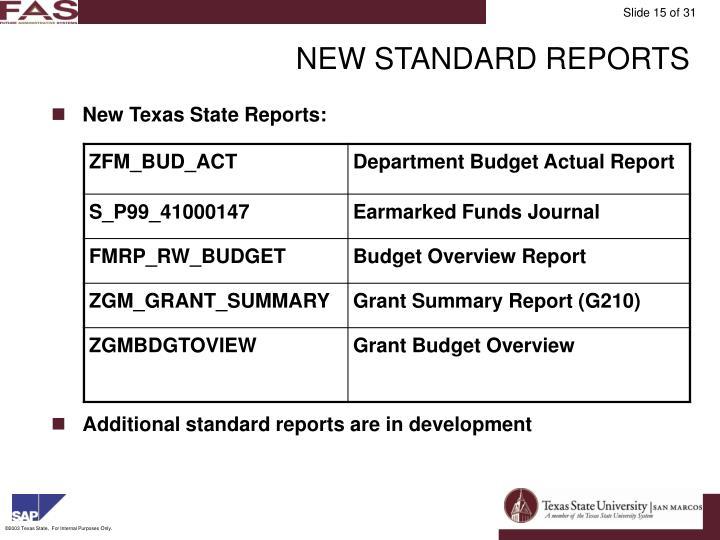 NEW STANDARD REPORTS