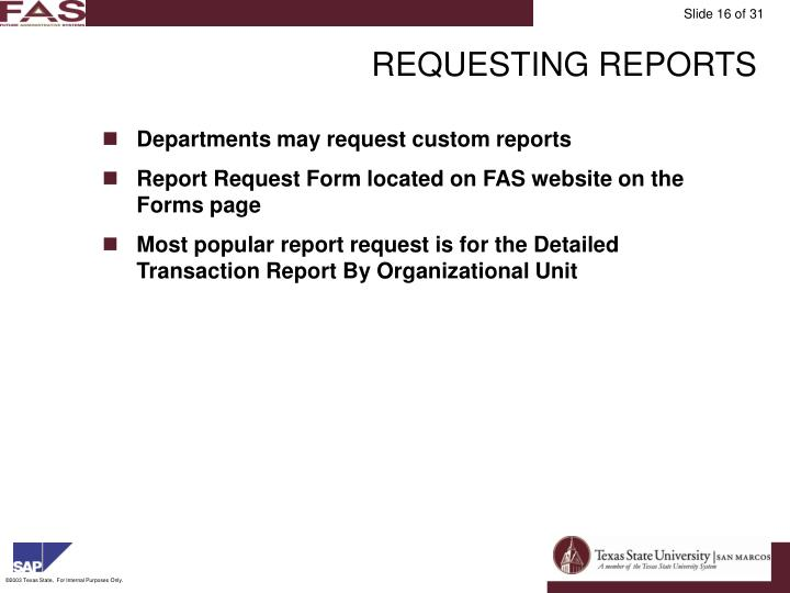 REQUESTING REPORTS