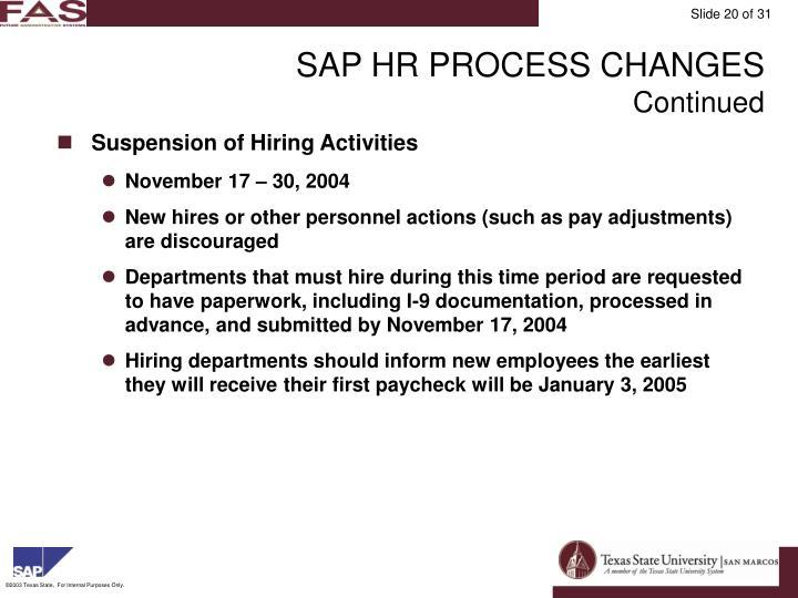SAP HR PROCESS CHANGES