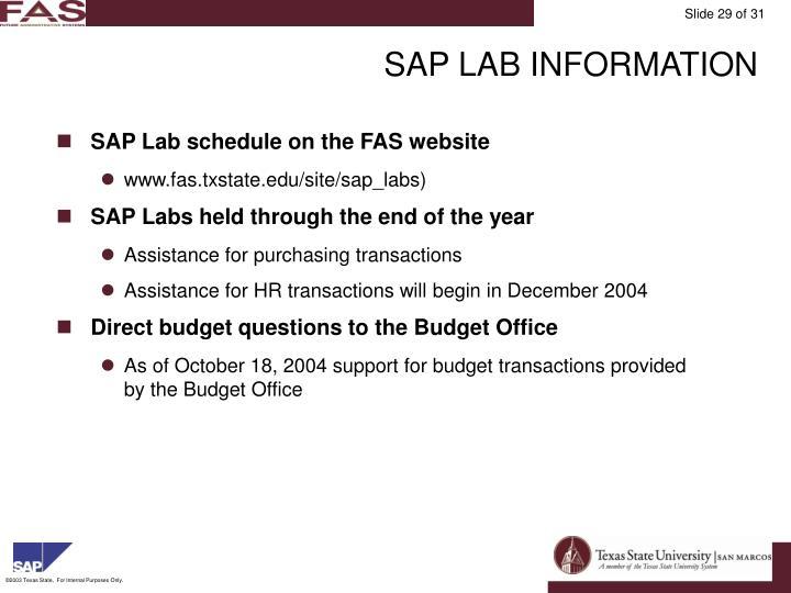 SAP LAB INFORMATION