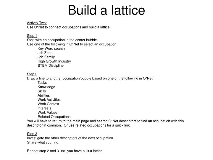 Build a lattice