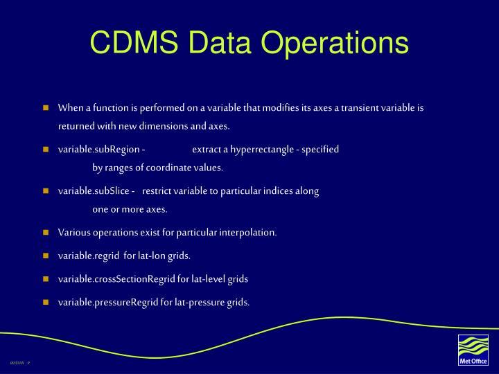 CDMS Data Operations