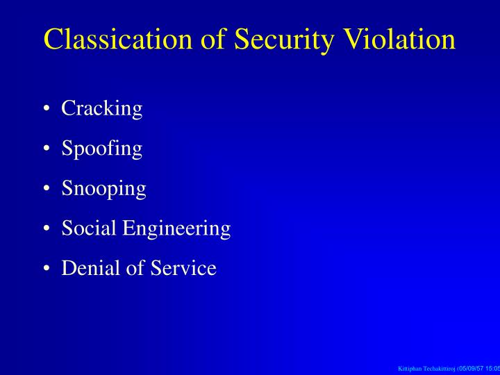 Classication of Security Violation