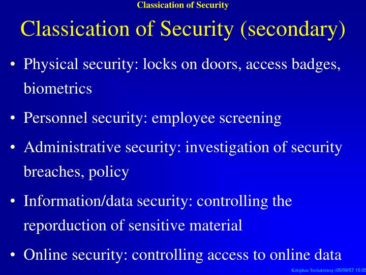 Classication of Security