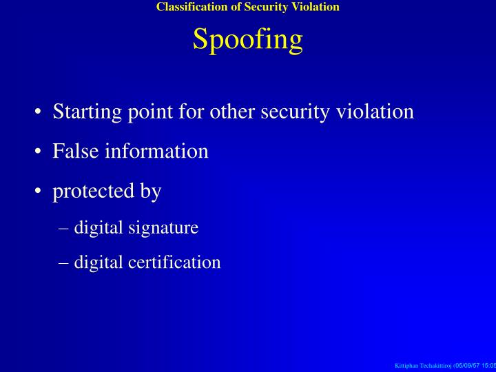 Classification of Security Violation