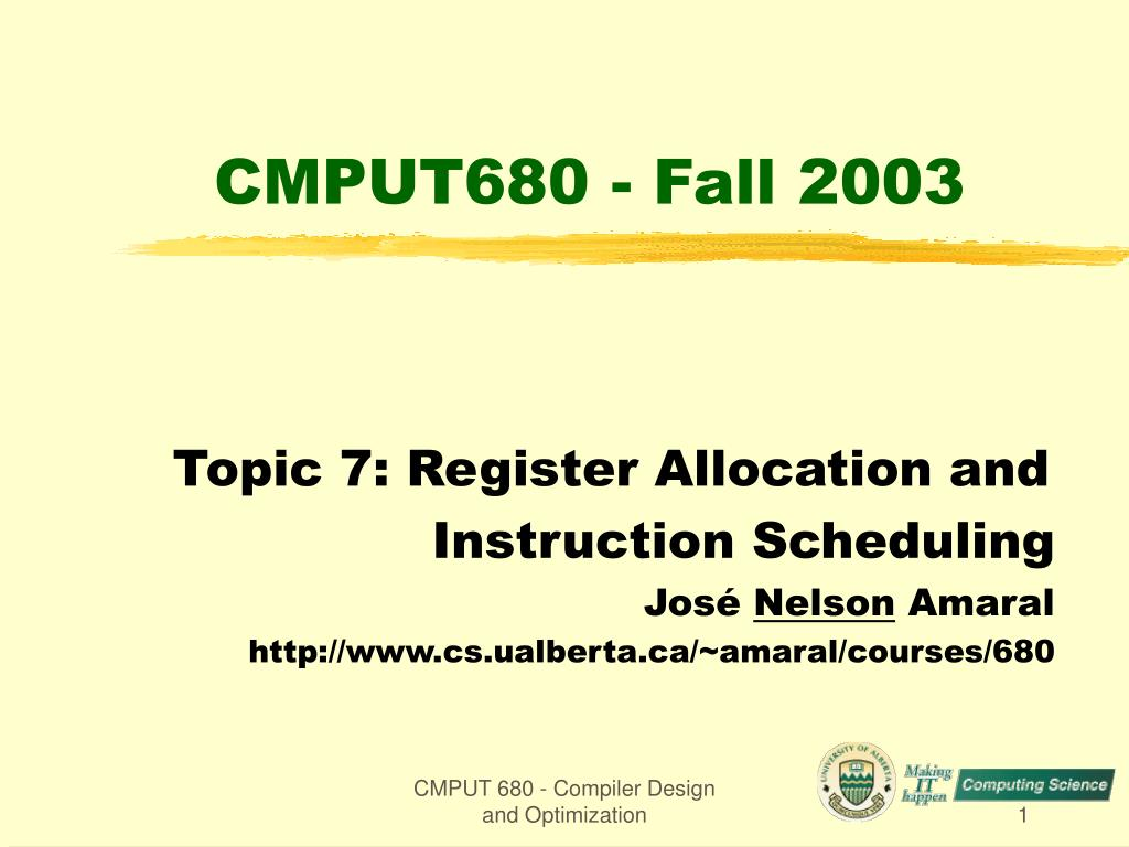 Ppt Cmput680 Fall 2003 Powerpoint Presentation Free Download Id 3976253