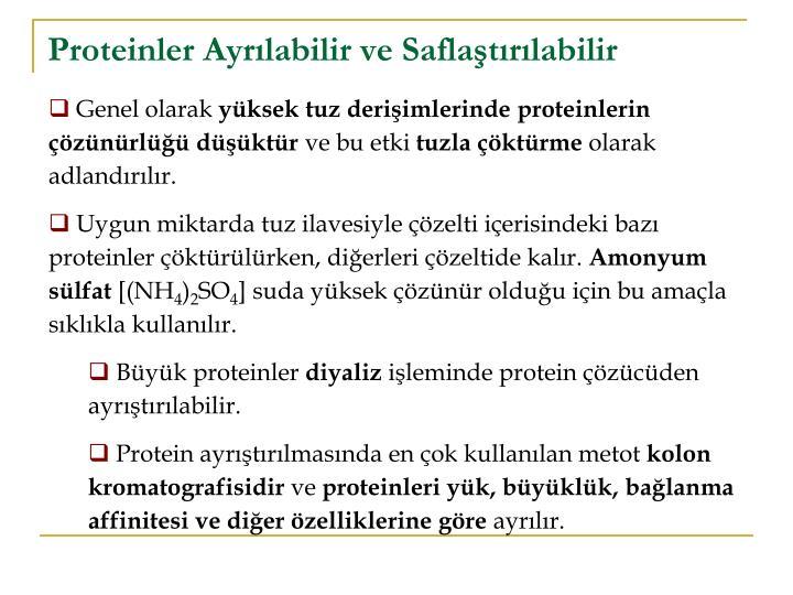 Proteinler Ayrılabilir ve Saflaştırılabilir