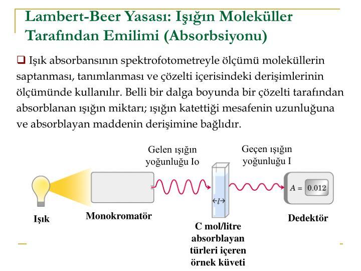 Lambert-Beer Yasası: Işığın Moleküller Tarafından Emilimi (Absorbsiyonu)