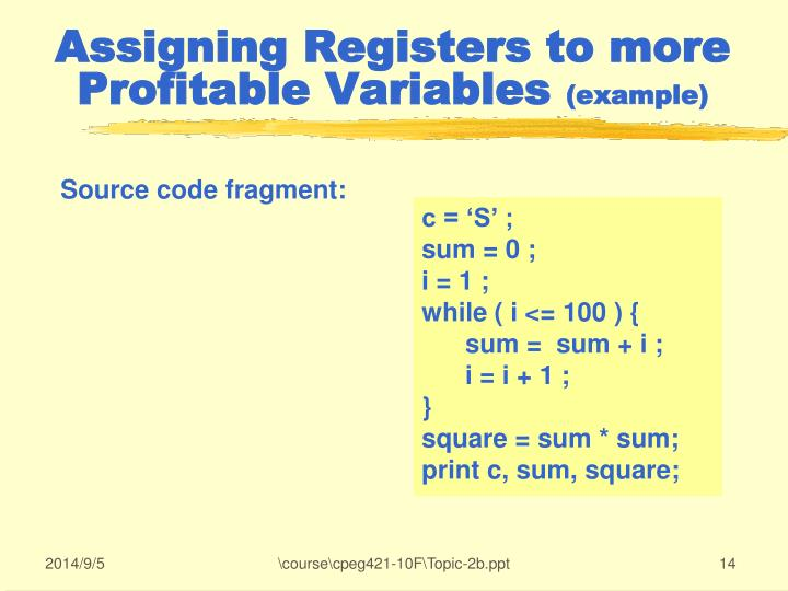 Assigning Registers to more Profitable Variables