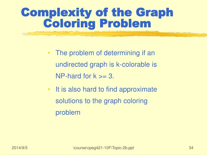 The problem of determining if an undirected graph is k-colorable is NP-hard for k >= 3.