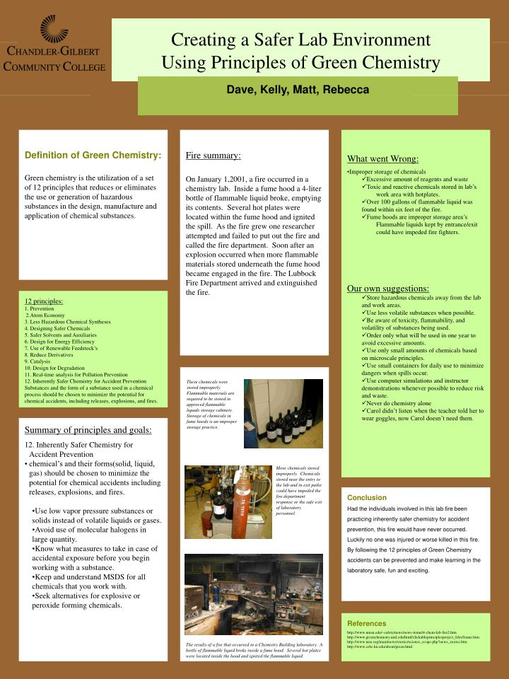 PPT - Creating a Safer Lab Environment Using Principles of Green