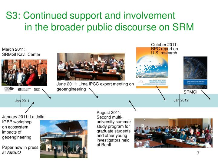 S3: Continued support and involvement