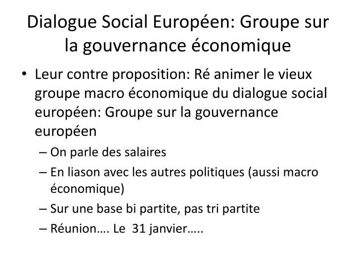 Dialogue Social Européen: Groupe sur la gouvernance économique
