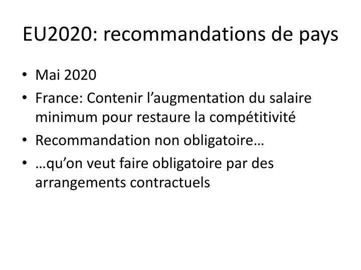 EU2020: recommandations de pays