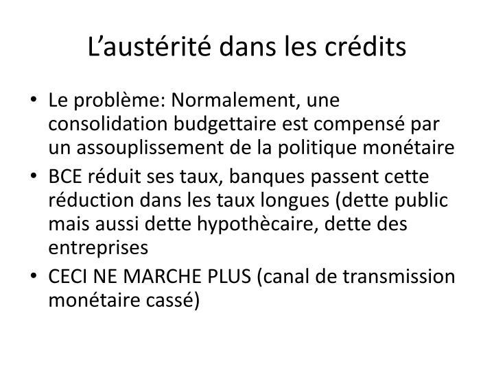 L'austérité dans les crédits