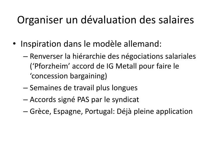 Organiser un dévaluation des salaires