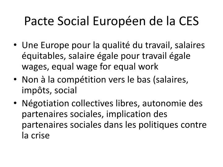 Pacte Social Européen de la CES