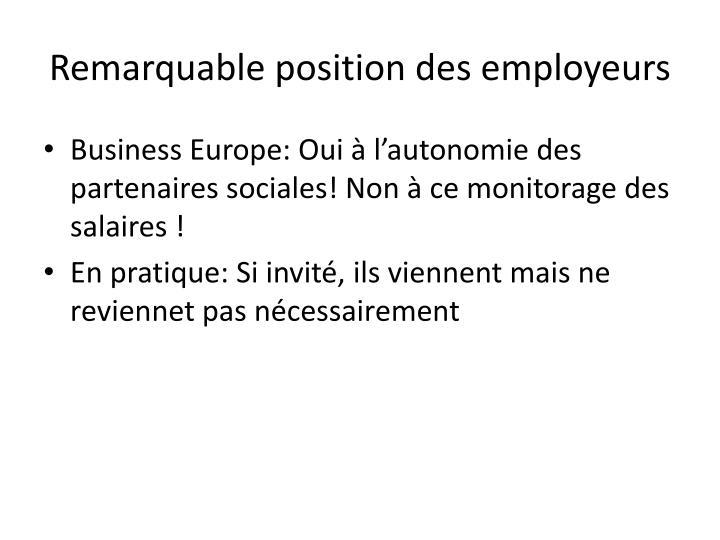 Remarquable position des employeurs