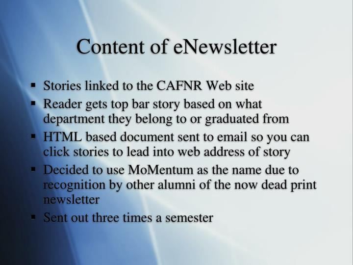 Content of eNewsletter