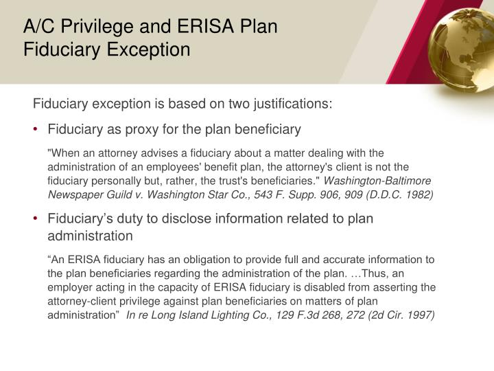 A/C Privilege and ERISA Plan Fiduciary Exception