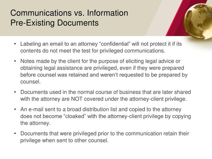 Communications vs. Information