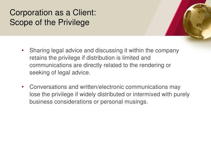 Corporation as a Client: