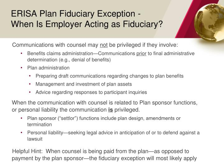 ERISA Plan Fiduciary Exception -