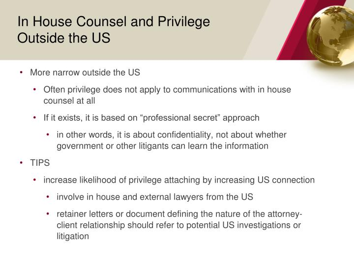 In House Counsel and Privilege Outside the US