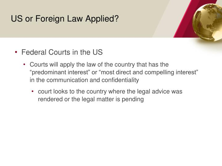 US or Foreign Law Applied?