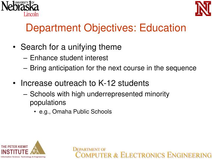 Department Objectives: Education