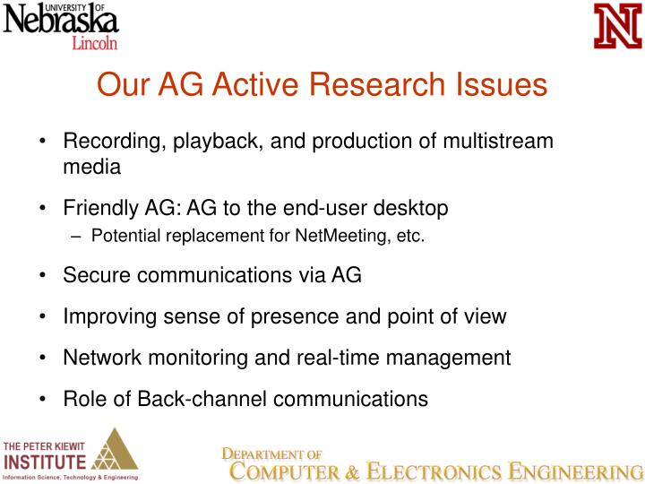 Our AG Active Research Issues
