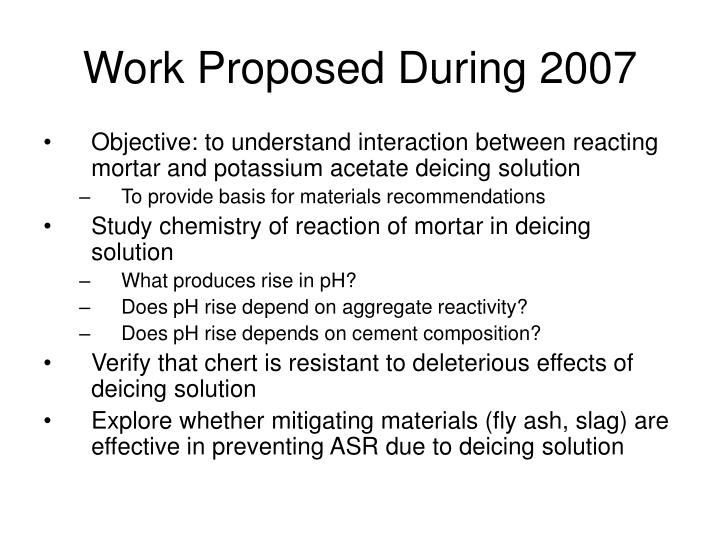 Work Proposed During 2007