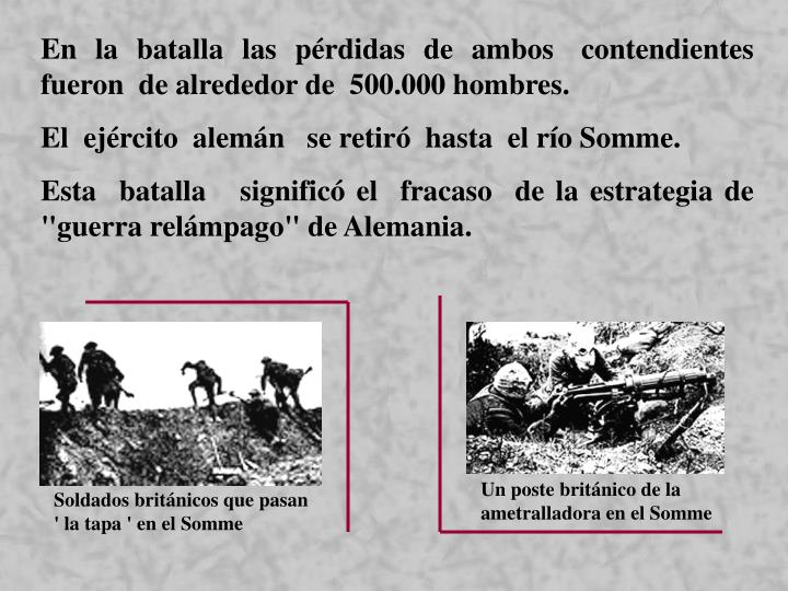 Un poste británico de la ametralladora en el Somme