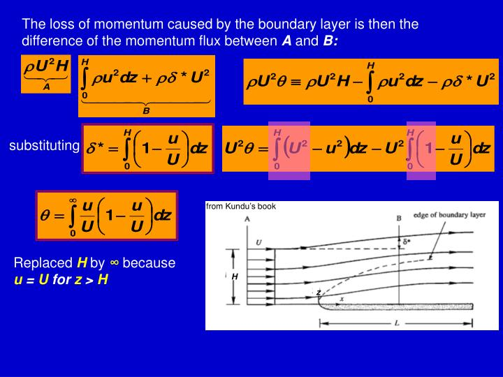 The loss of momentum caused by the boundary layer is then the difference of the momentum flux between
