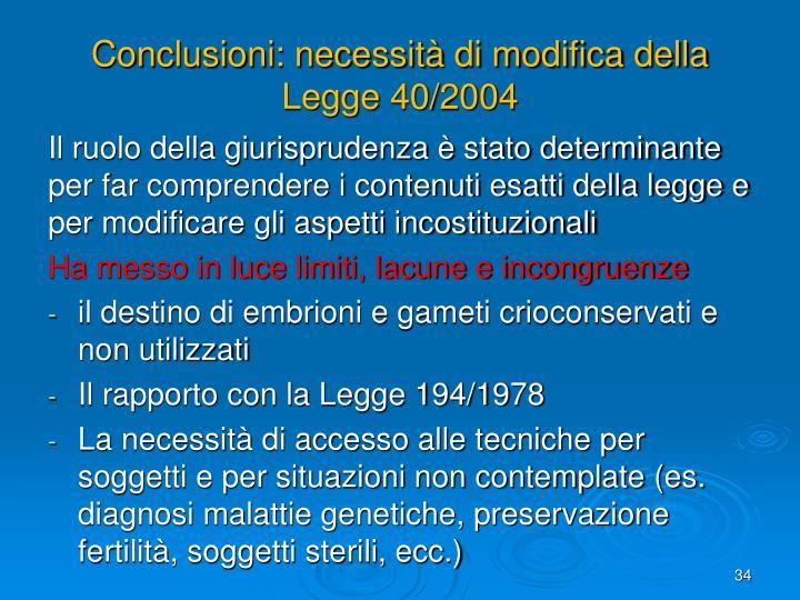 Conclusioni: necessità di modifica della Legge 40/2004