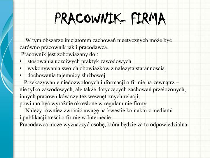 PRACOWNIK- FIRMA