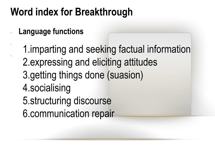 Word index for Breakthrough