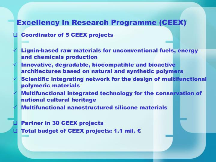 Excellency in Research Programme (CEEX)