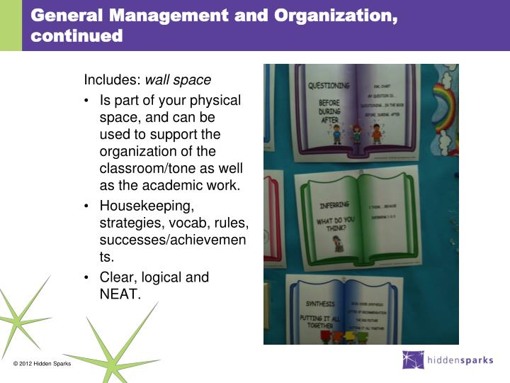General Management and Organization, continued