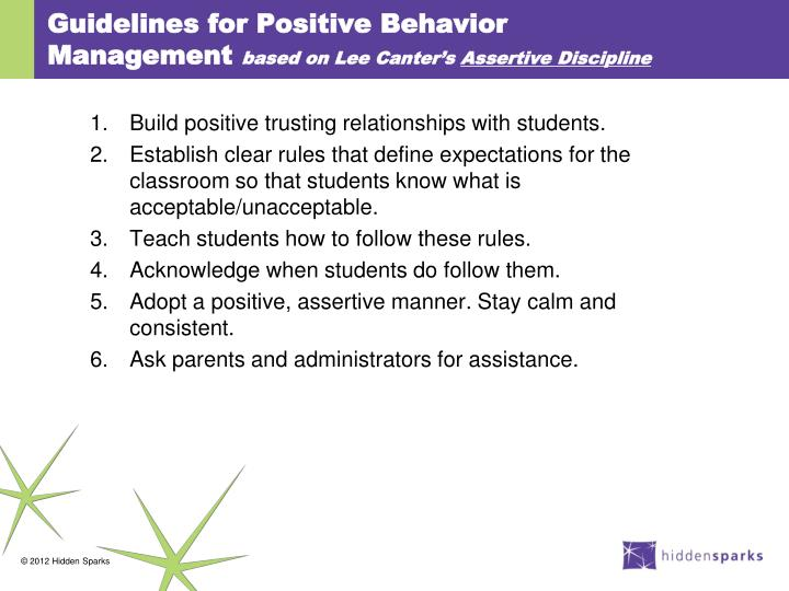 Guidelines for Positive Behavior Management
