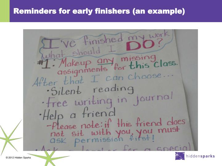 Reminders for early finishers (an example)