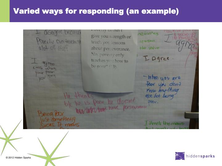 Varied ways for responding (an example)