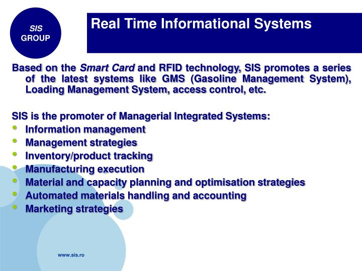 Real Time Informational Systems