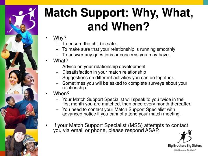 Match Support: Why, What, and When?