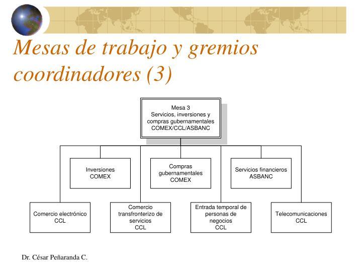 Mesas de trabajo y gremios coordinadores (3)