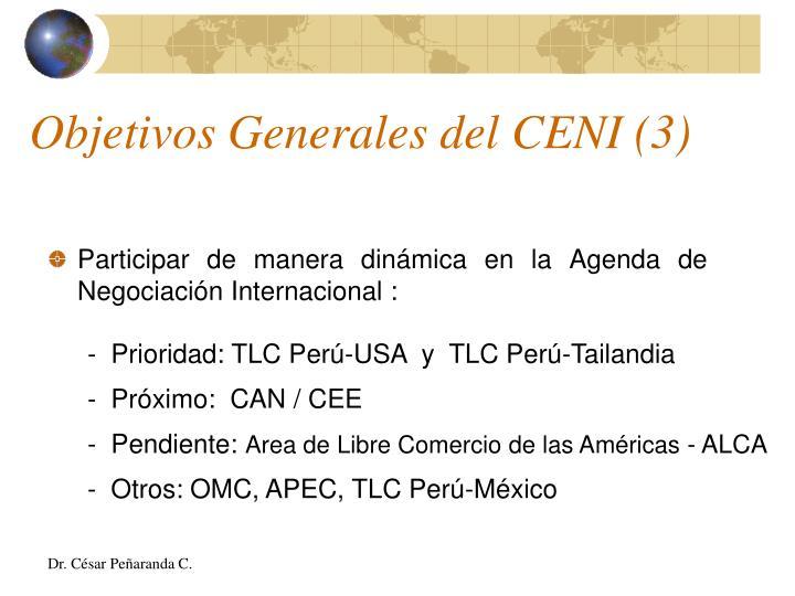 Objetivos Generales del CENI (3)