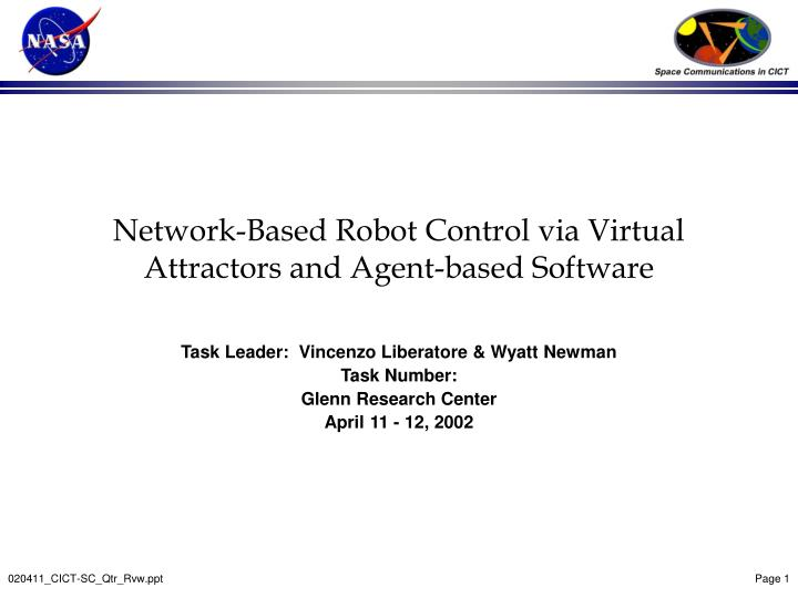 Network based robot control via virtual attractors and agent based software