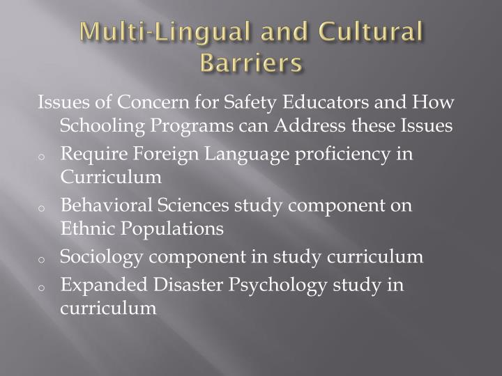 Multi lingual and cultural barriers1